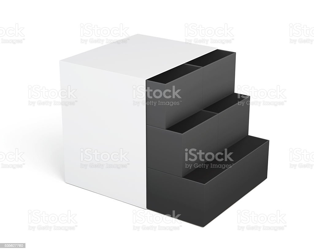 White-black chest of drawers isolated on a white background. 3d stock photo