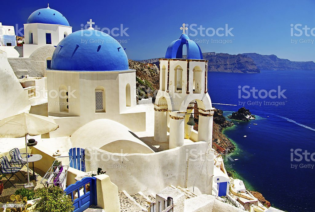 white-blue Santorini stock photo