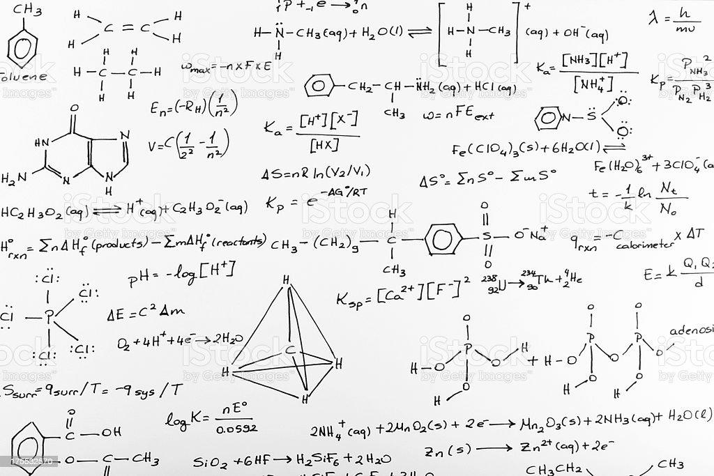 Whiteboard of written complex chemistry work stock photo