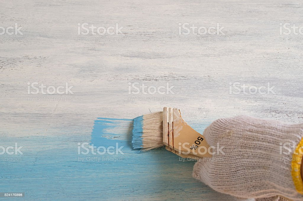Whiteboard paint in blue color. stock photo