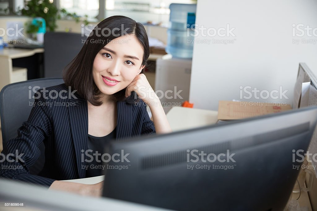 white-collar workers in the office stock photo