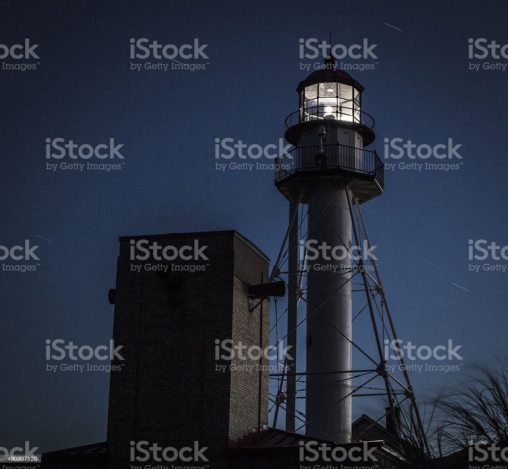 Whitefish Point Lighthouse At Night stock photo