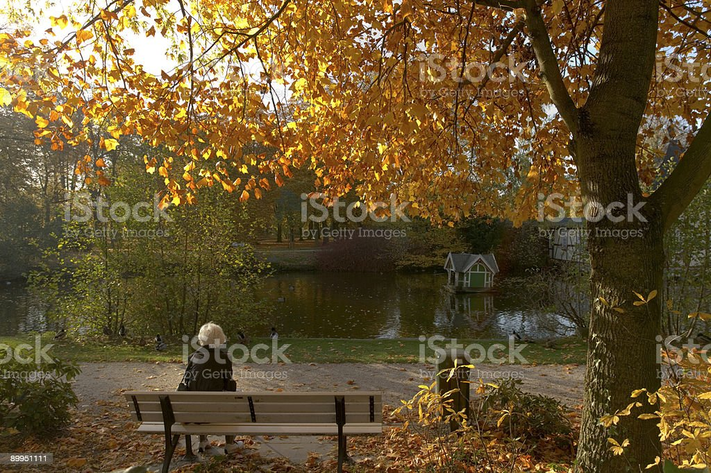 White-haired senior woman relaxing on park bench in autumn royalty-free stock photo