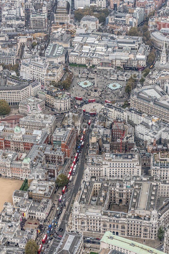 Whitehall and Trafalgar Square London aerial view stock photo