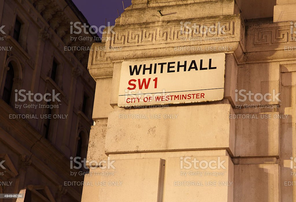Whitehall SWI street sign stock photo