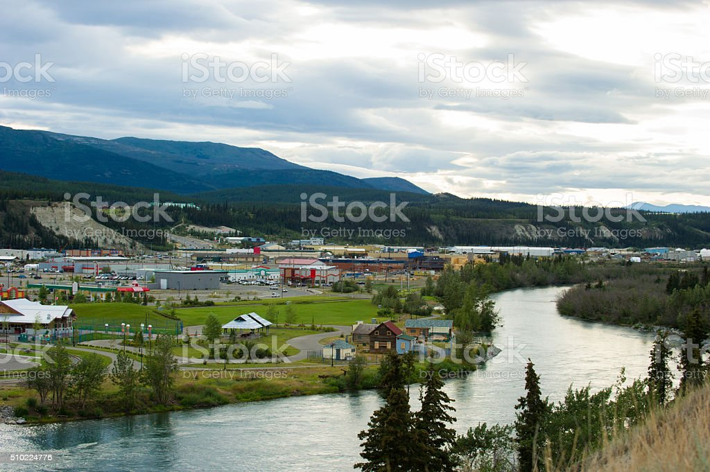 Whitehorse, Yukon cityscape on the Yukon River stock photo