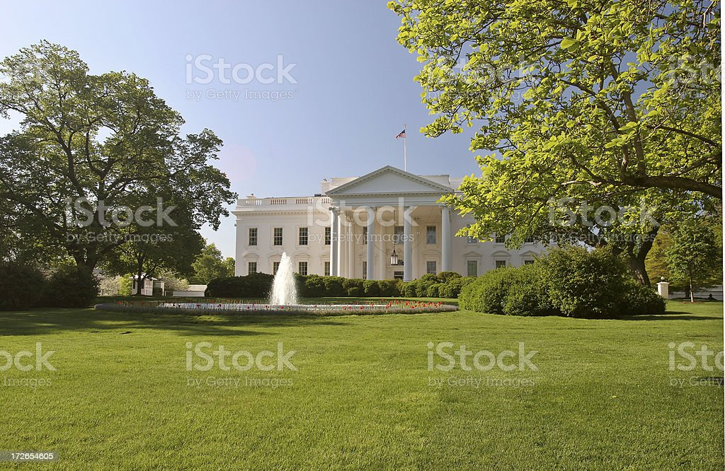 Whitehouse on a beautiful spring day in DC stock photo