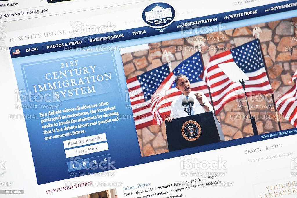 Whitehouse.gov Official Internet Page royalty-free stock photo