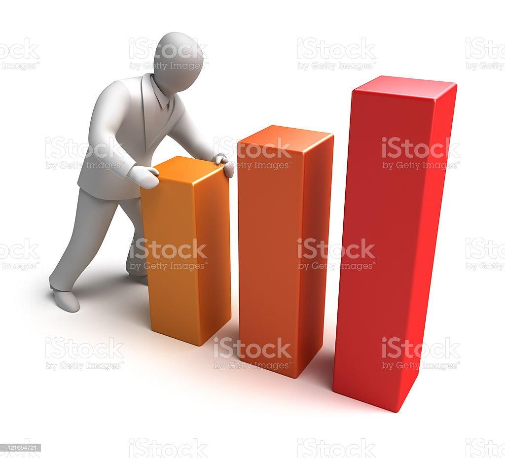 Whiteman and rising graph stock photo