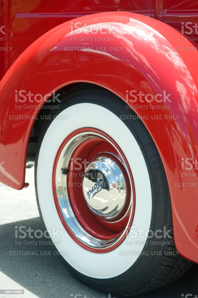 Whitewall Tire on a 1941 Ford Pick Up Truck stock photo