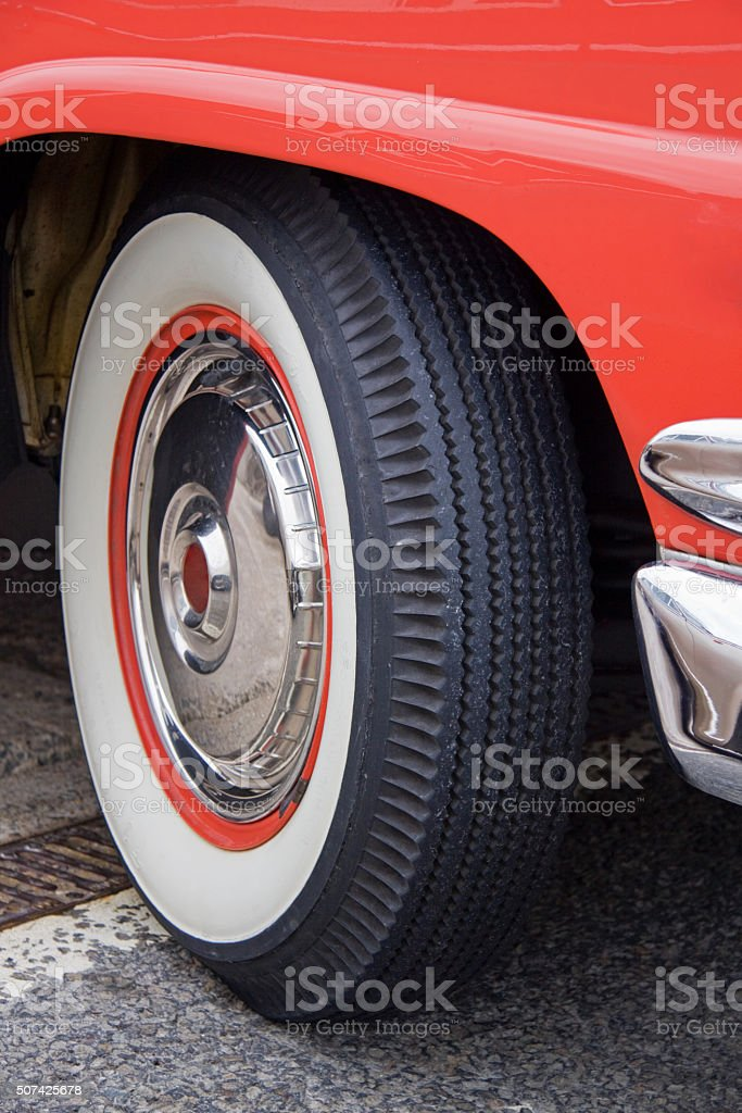 Whitewall tyre on a classic American car UK stock photo