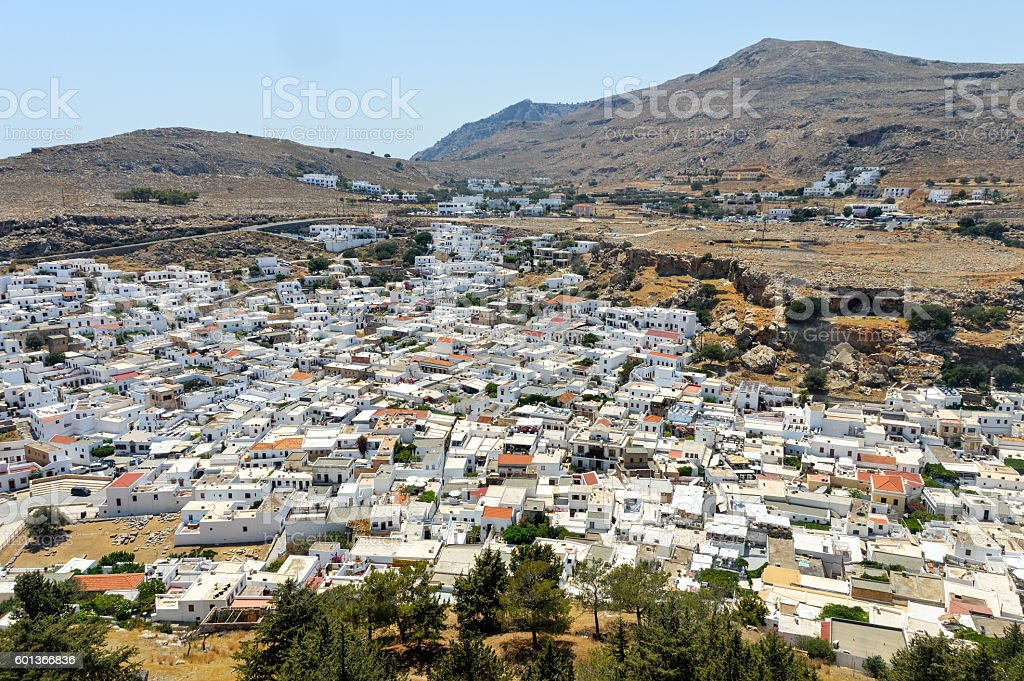 Whitewashed buildings of Lindos on Rhodes island in Greece stock photo