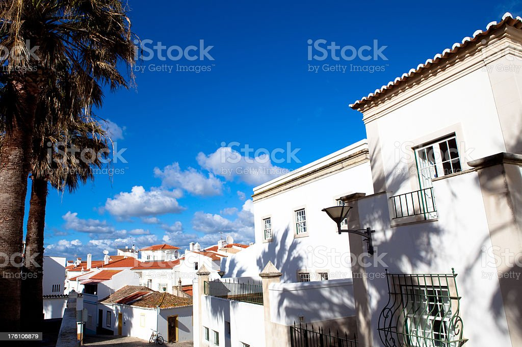 Whitewashed coastal town in Portugal stock photo