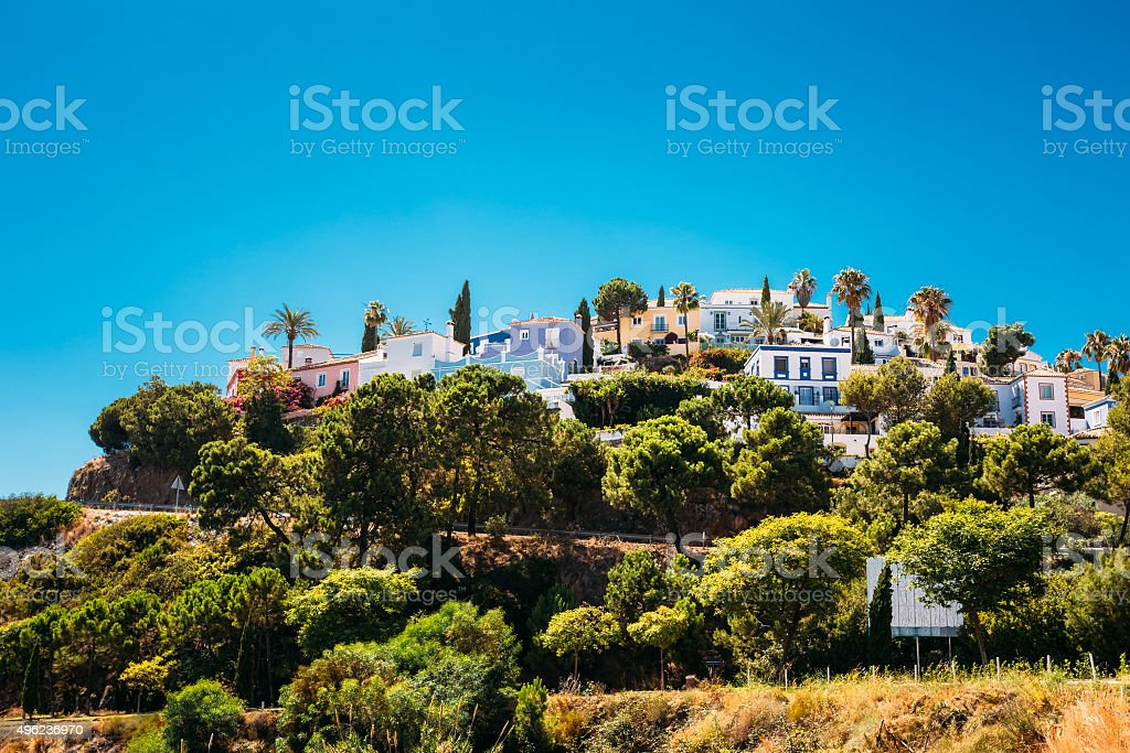 Whitewashed House In Malaga region, Andalusia, Spain. Sunny Day stock photo