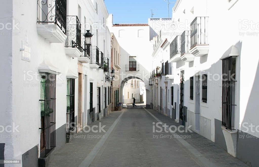 Whitewashed houses at village streets of Olivenza, Spain stock photo