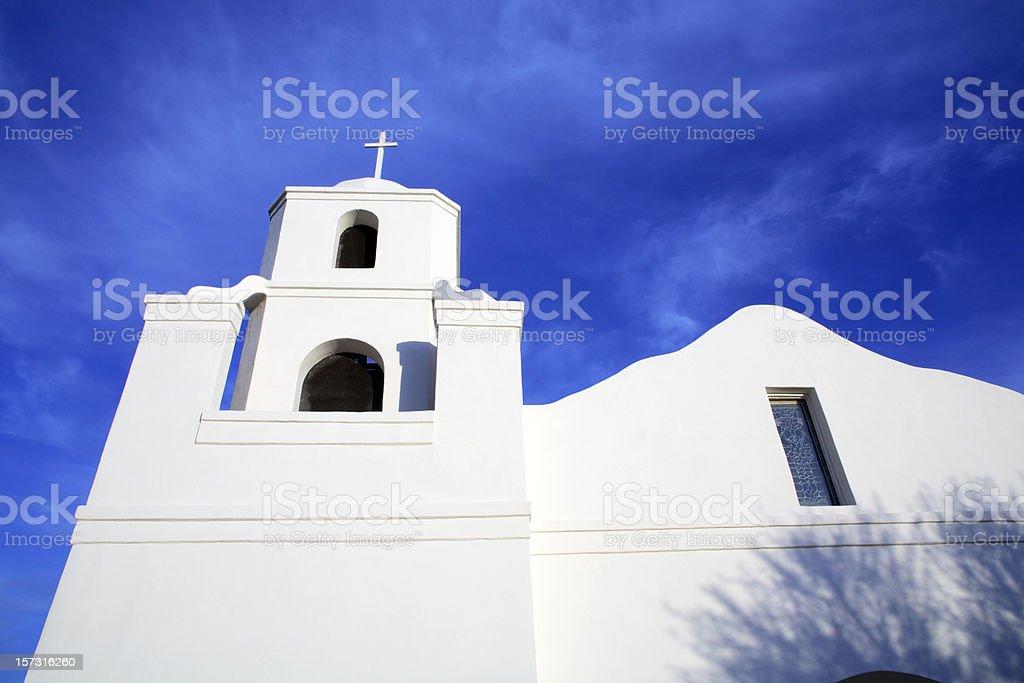 Whitewashed Mission style church in  Arizona stock photo