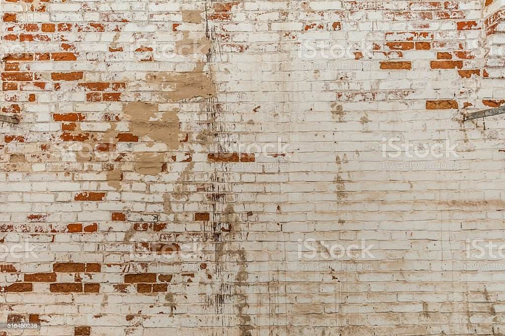 Whitewashed Red Brick Wall stock photo
