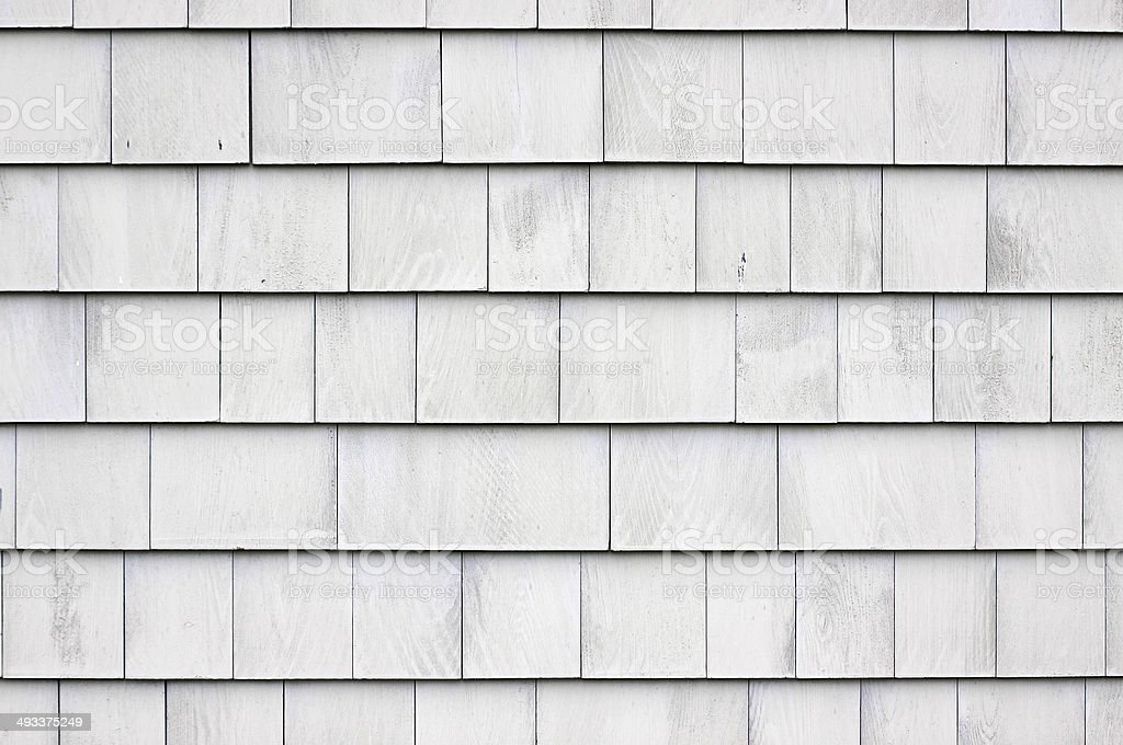Whitewashed shingle siding stock photo