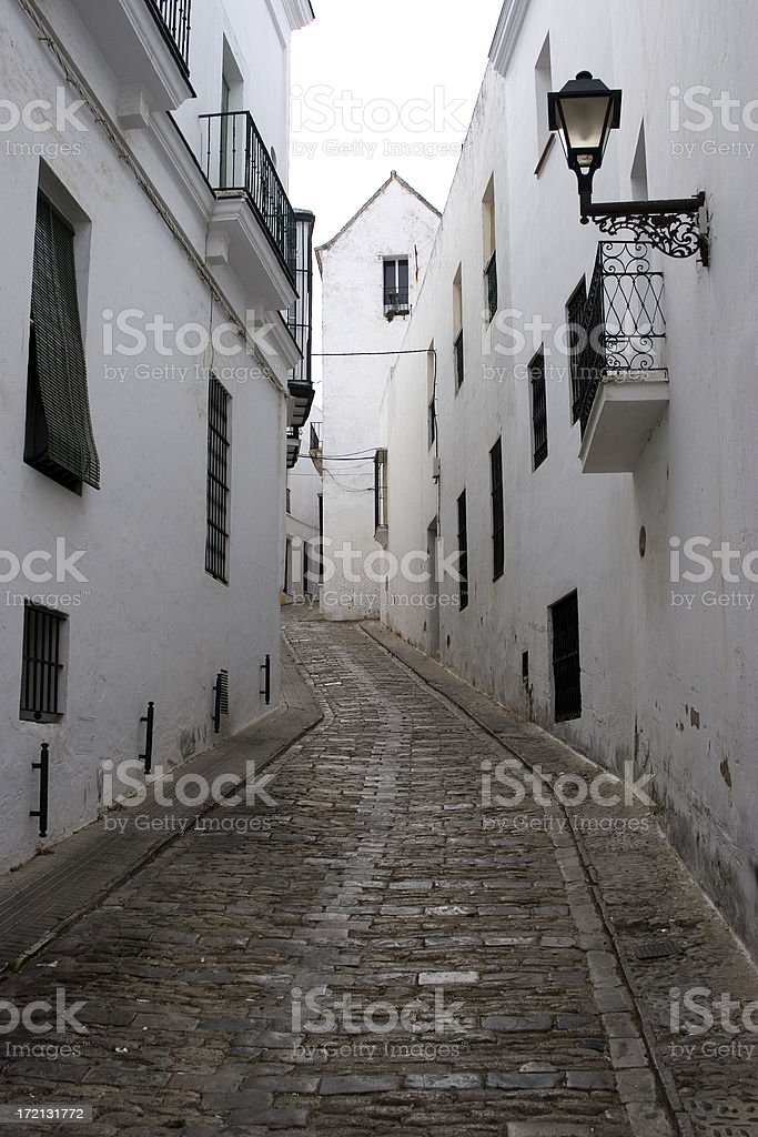 Whitewashed Spanish houses, Vejer, Spain stock photo
