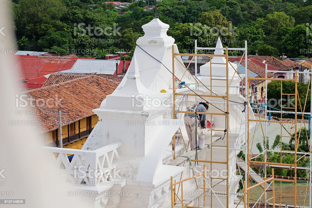 Whitewashing the Cathedral stock photo