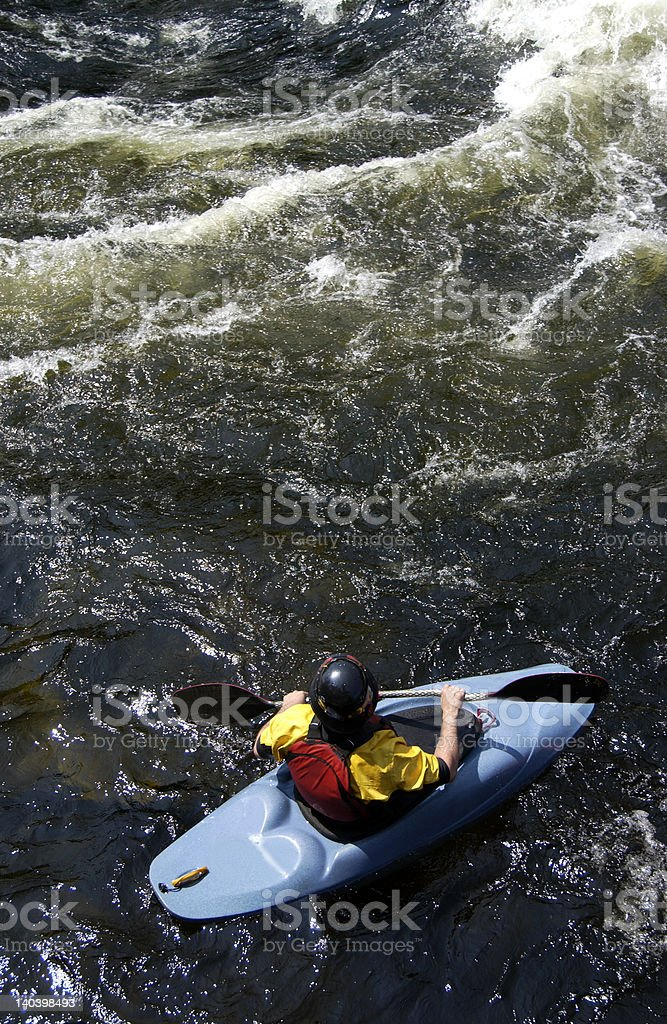 whitewater kayaker in eddy royalty-free stock photo