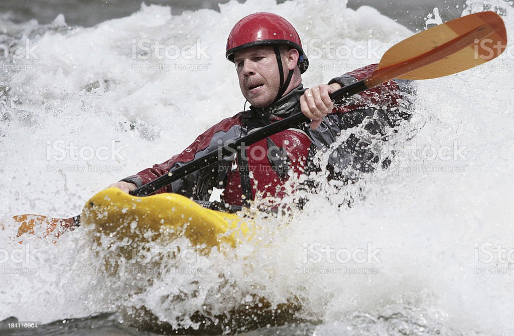 Whitewater Kayaker Looking Concerned royalty-free stock photo