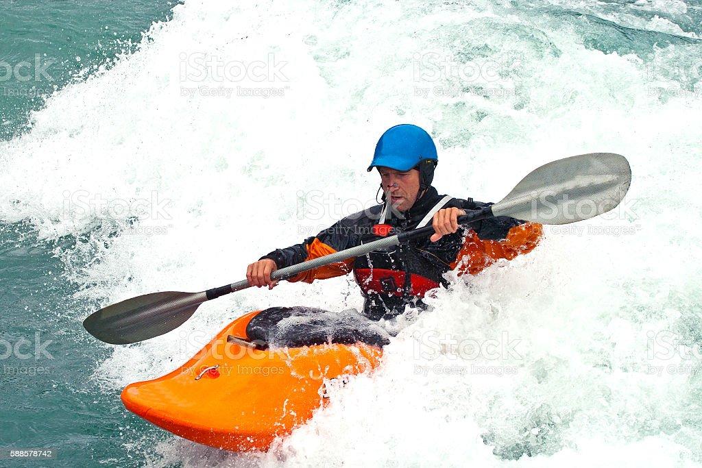 Whitewater kayaking in Norway stock photo