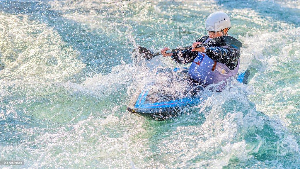 Whitewater kayaking stock photo