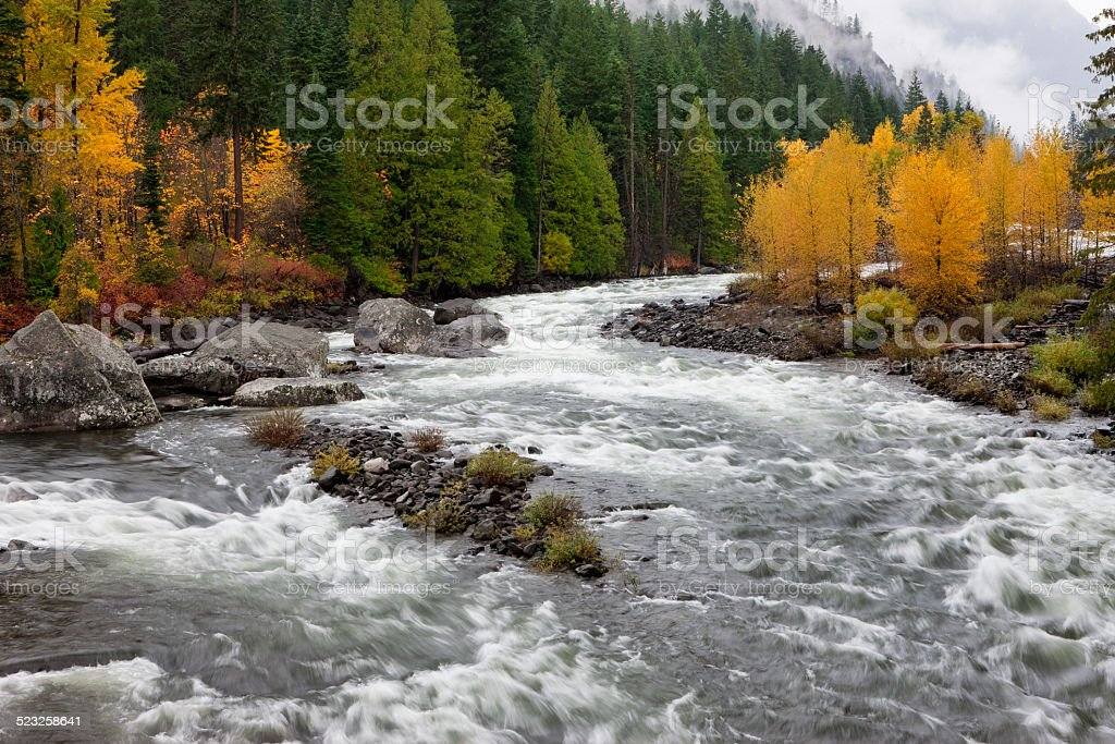 Whitewater on the Wenatchee River. stock photo