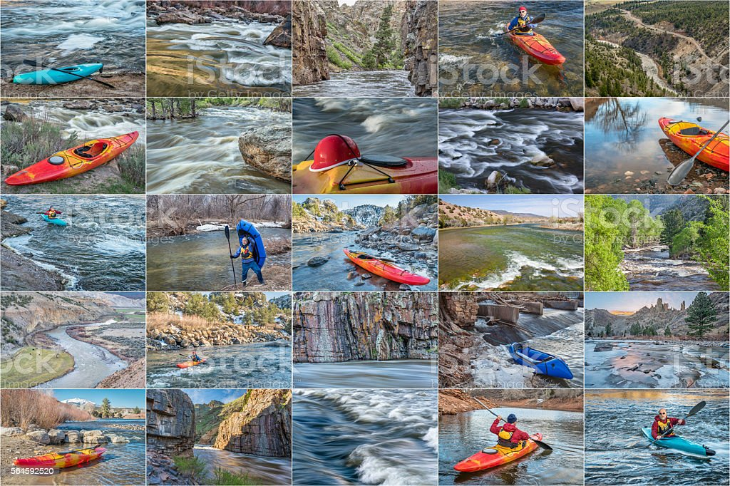 whitewater paddling picture collection stock photo