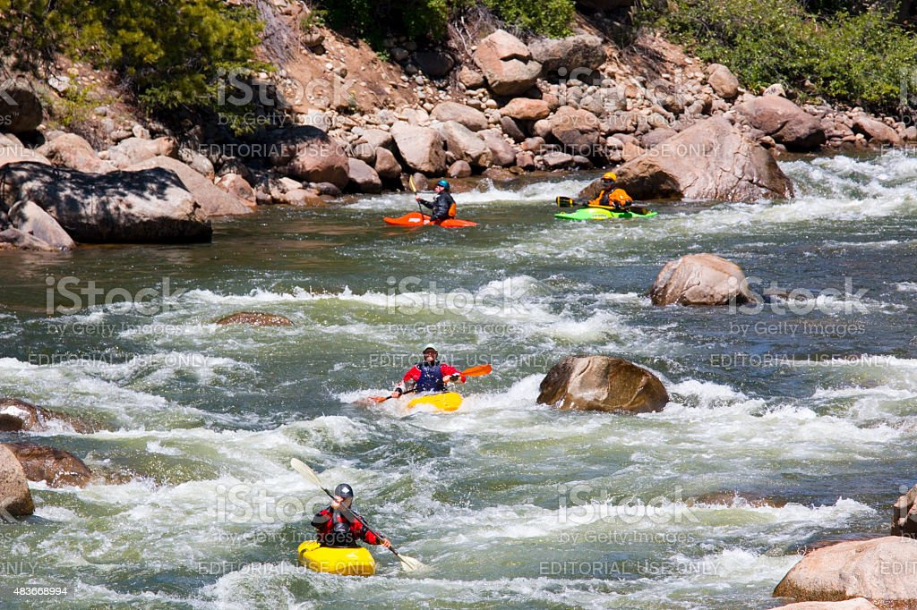 Whitewater rafting and kayaking on the Arkansas River stock photo