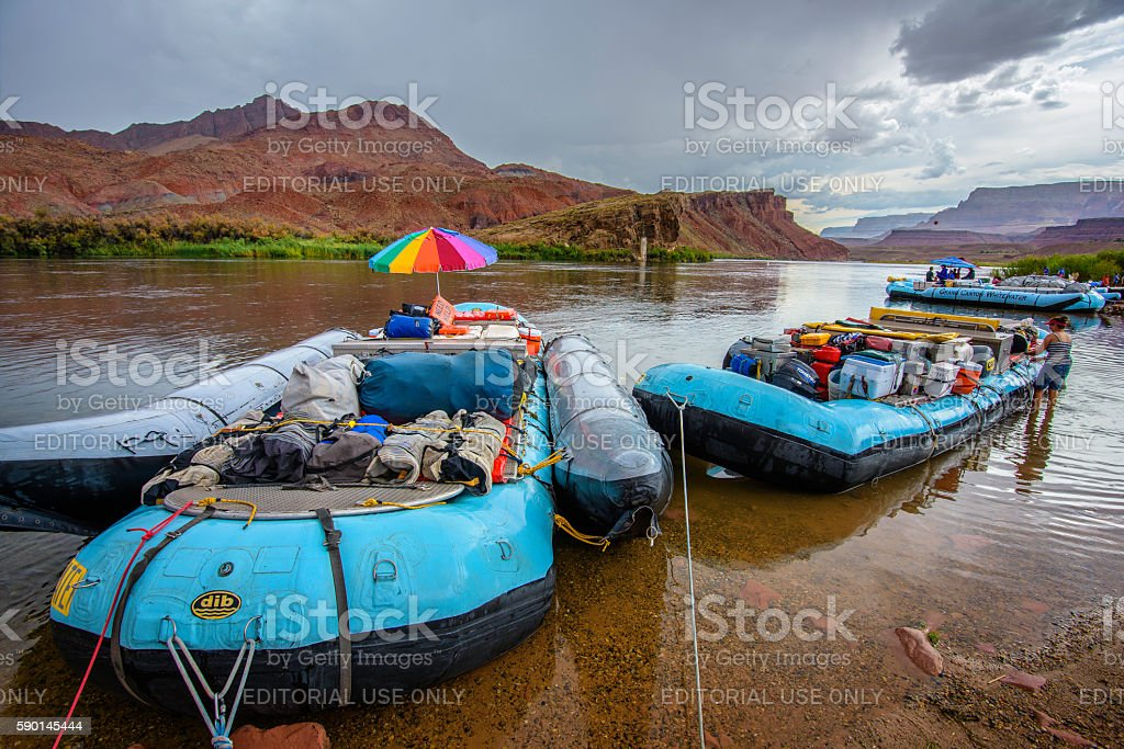 Whitewater Rafting in Colorado river stock photo