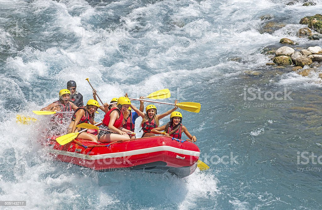 Whitewater Rafting on Koprulu Canyon stock photo