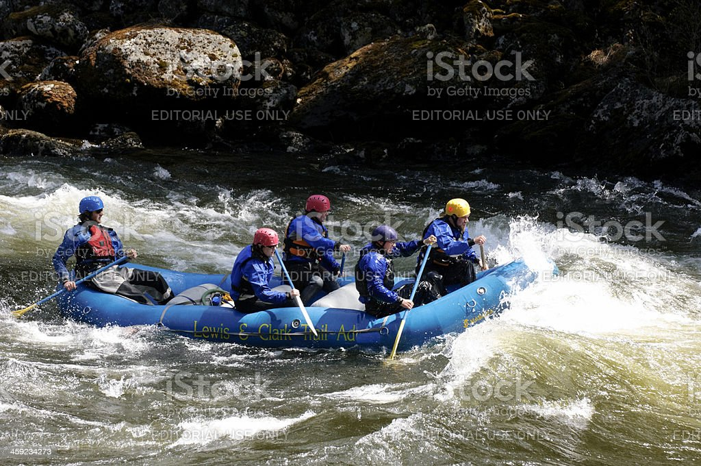 Whitewater Rafting on Lochsa River stock photo
