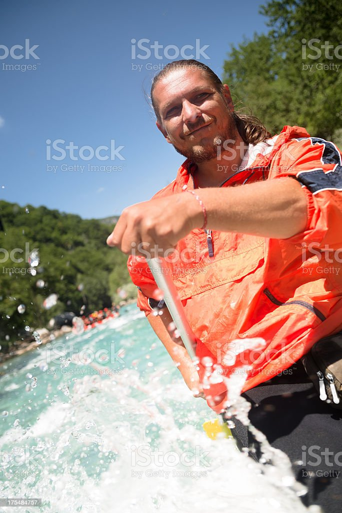 Whitewater rafting skipper stock photo