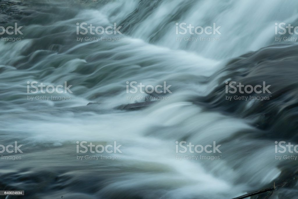Whitewater rapids below the dam at Union Pond, Manchester, Conne stock photo