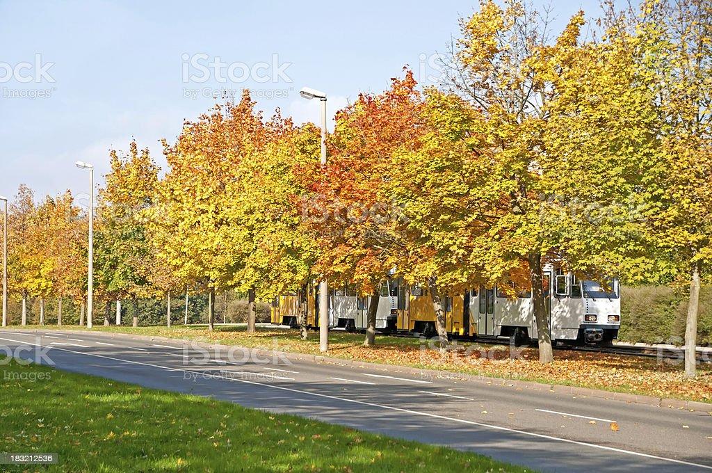 White-yellow tram in autumn, city Gera, Thuringia Germany royalty-free stock photo