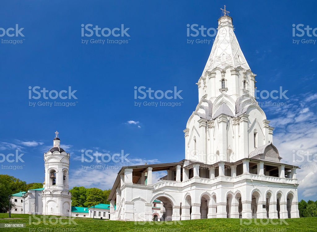 Whithe temple in summer stock photo