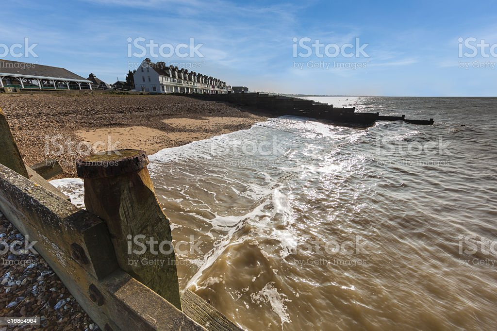 Whitstable Beach, wide angle. stock photo