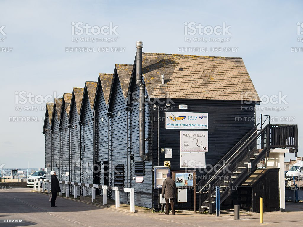 Whitstable fisheman huts stock photo