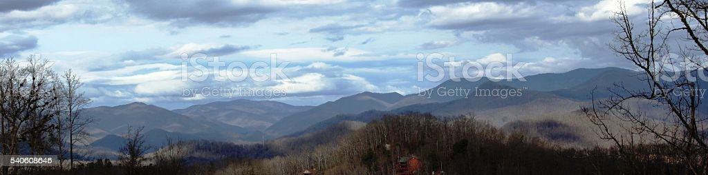 Whittier Mountains with Clouds stock photo