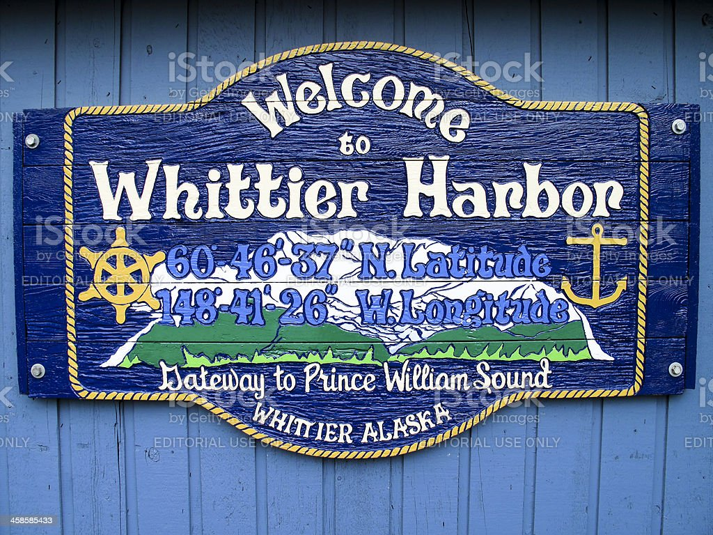 whittier prince william sound alaska sign stock photo
