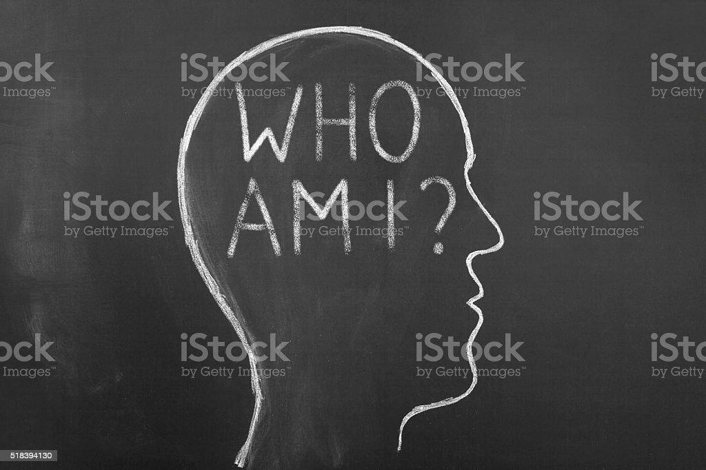 Who am I on blackboard stock photo