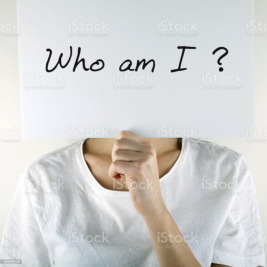 Who am I? stock photo