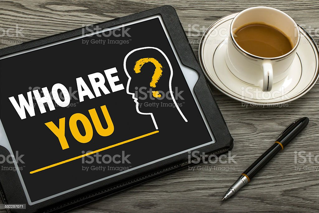who are you concept stock photo