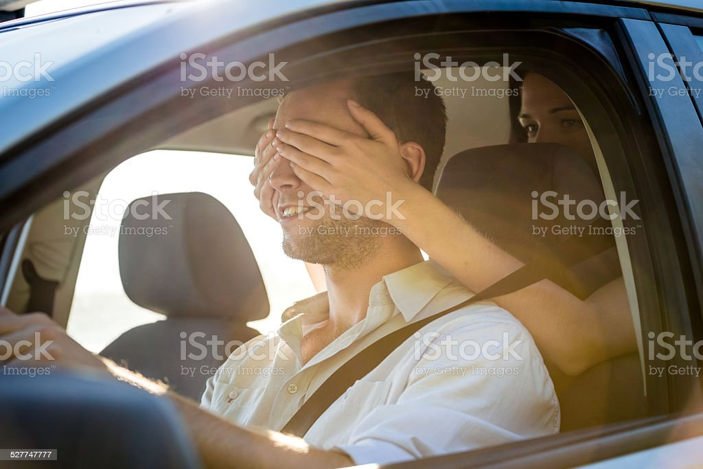 Who is it? - couple in car royalty-free stock photo