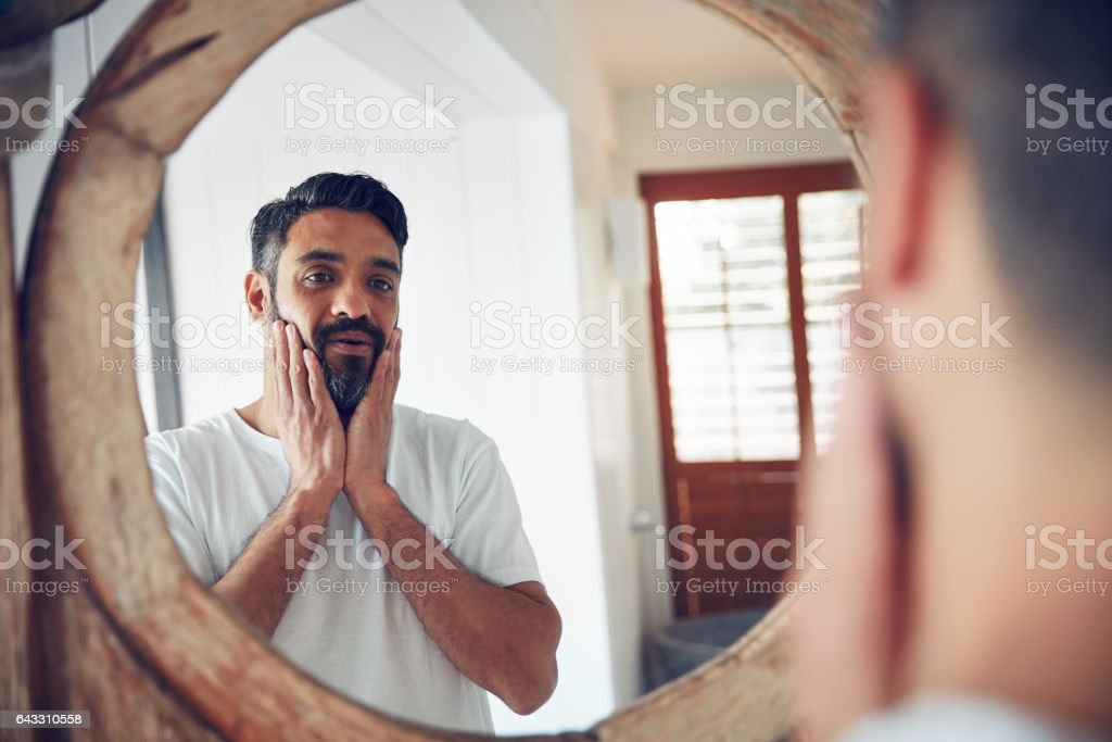 Who is this man I've become? stock photo