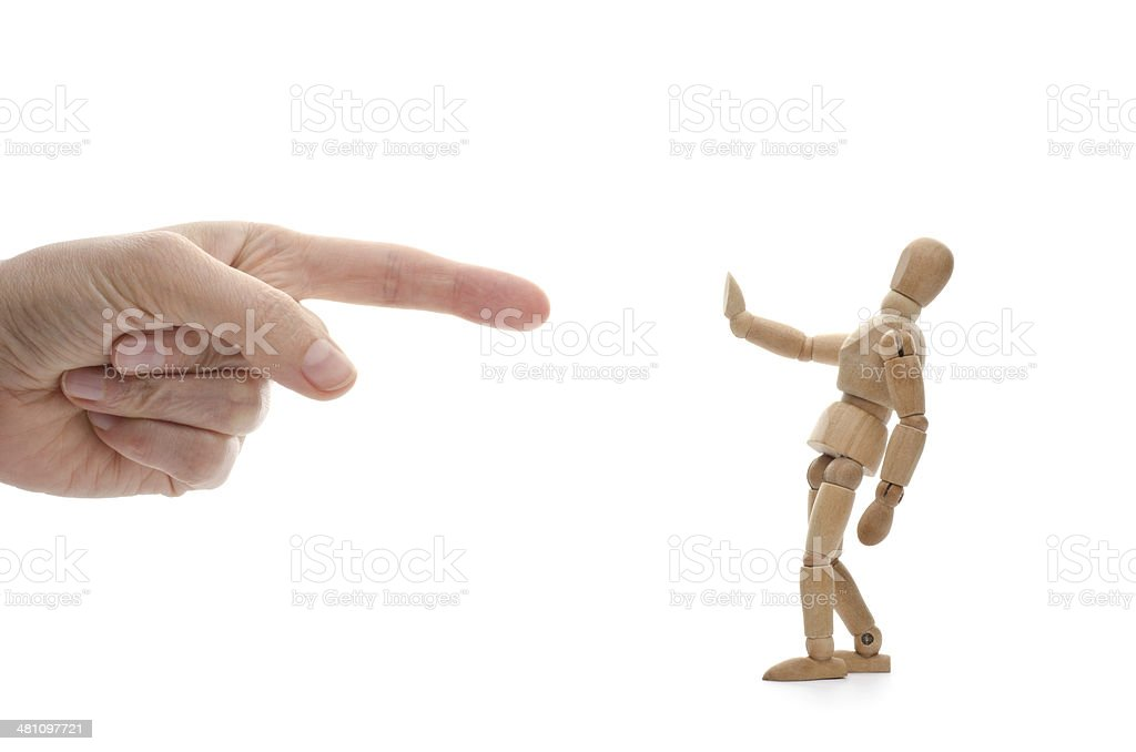 who? me? wooden mannequin and hand of .... God? stock photo