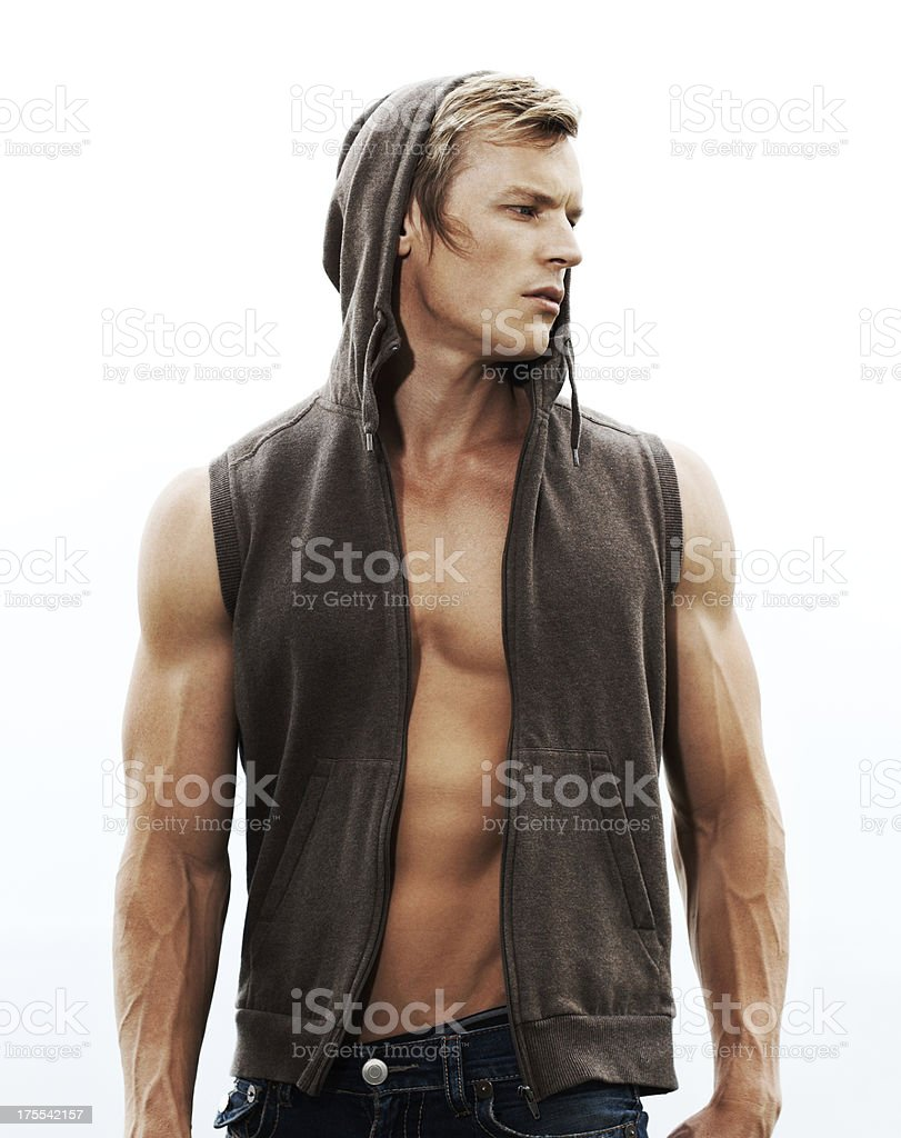 Who needs sleeves with arms like these! stock photo