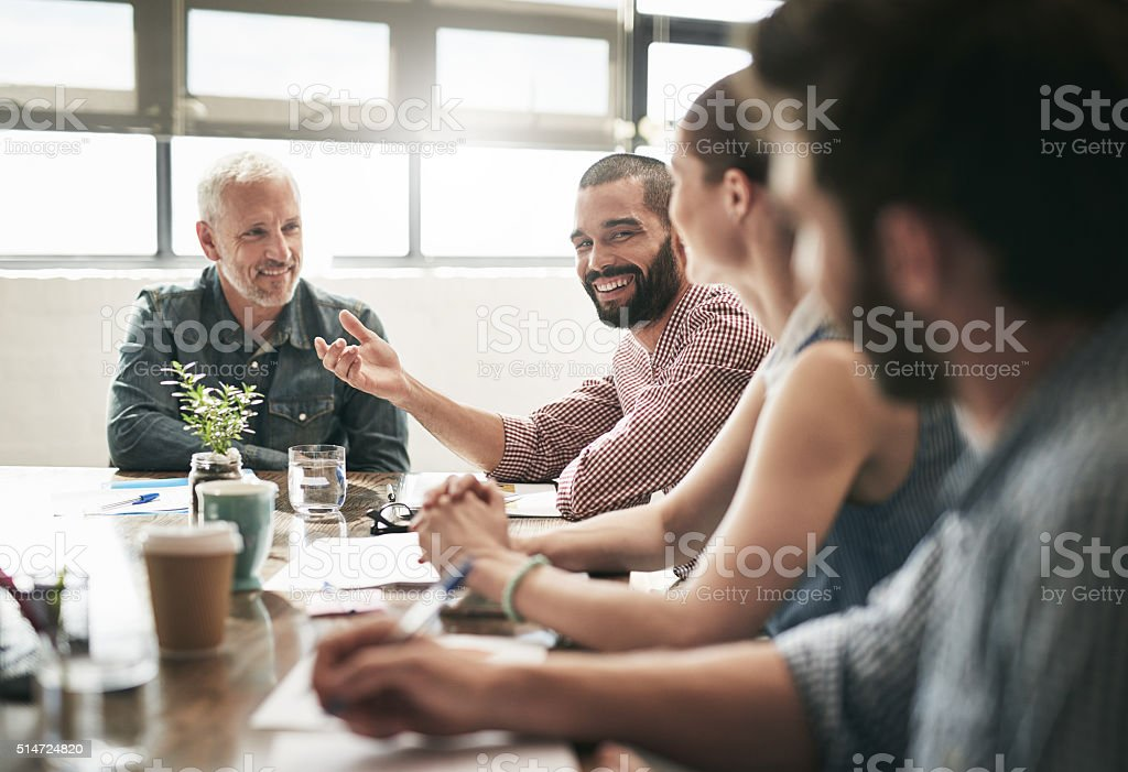 Who said meetings have to be boring stock photo